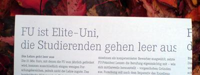 flugblatt zur immatrikulationsfeier der fu berlin