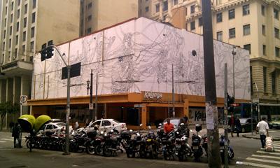 Kunstwerk von Mohamed Bourouissa auf der Street Biennale in Sao Paulo